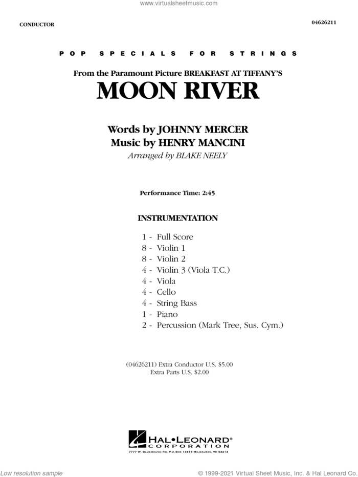 Moon River (from Breakfast at Tiffany's) (arr. Blake Neely) (COMPLETE) sheet music for orchestra by Johnny Mercer & Henry Mancini, Blake Neely, Henry Mancini and Johnny Mercer, intermediate skill level
