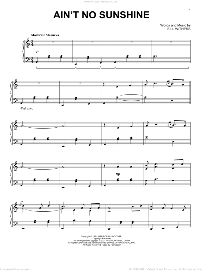 Ain't No Sunshine [Classical version] sheet music for piano solo by Bill Withers, intermediate skill level