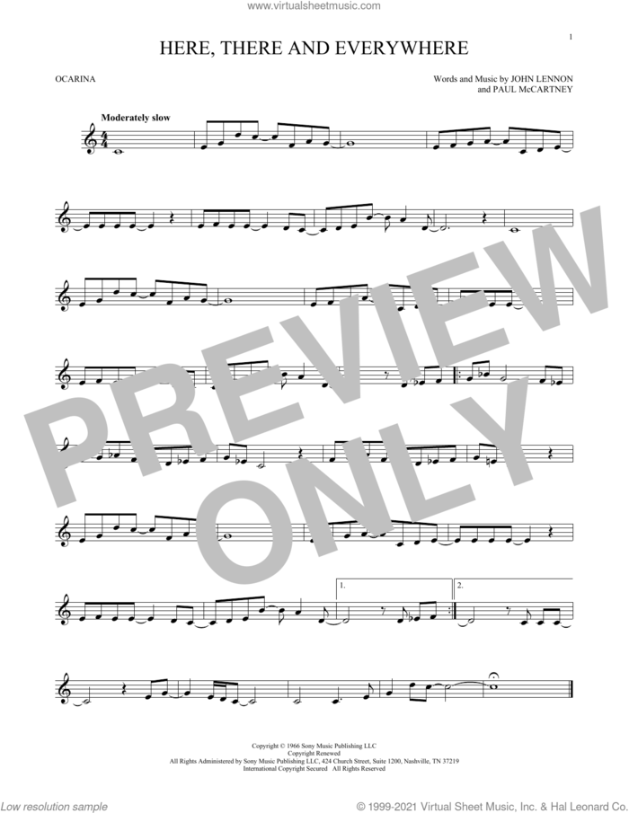 Here, There And Everywhere sheet music for ocarina solo by The Beatles, John Lennon and Paul McCartney, intermediate skill level