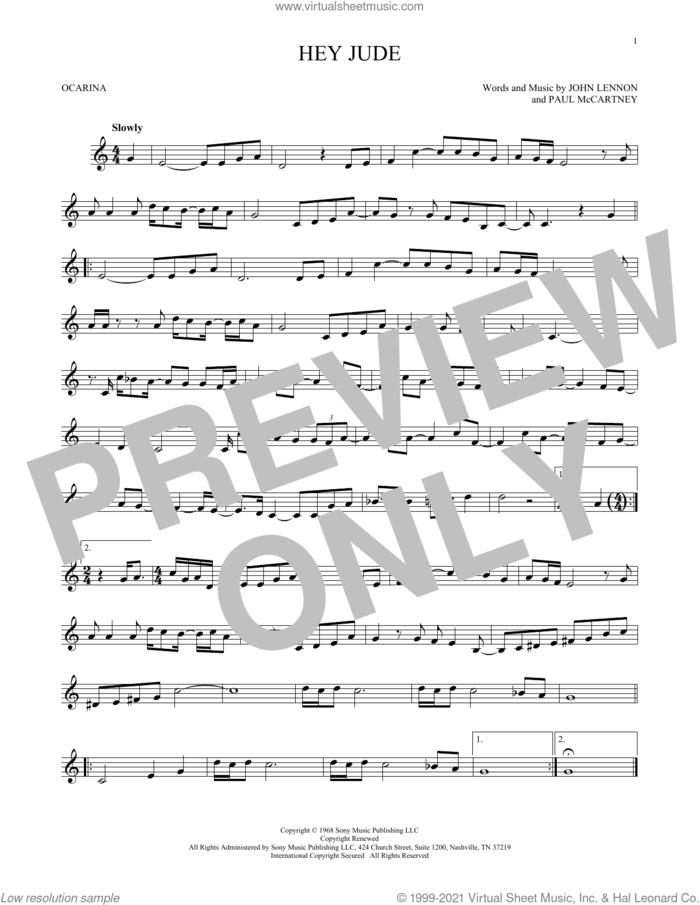 Hey Jude sheet music for ocarina solo by The Beatles, John Lennon and Paul McCartney, intermediate skill level