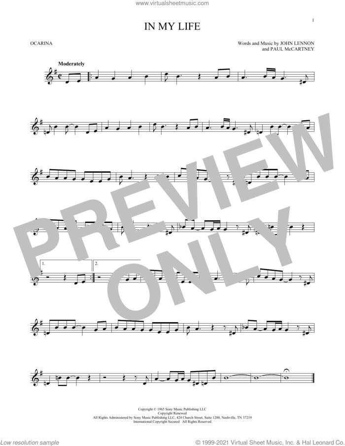 In My Life sheet music for ocarina solo by The Beatles, John Lennon and Paul McCartney, wedding score, intermediate skill level