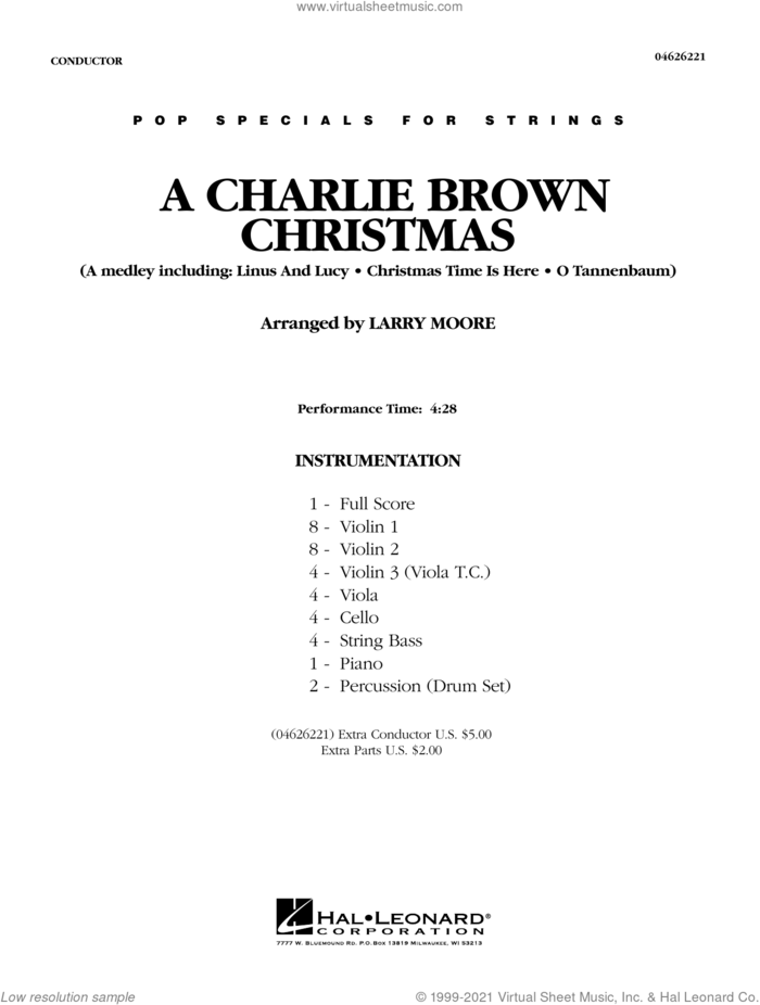 A Charlie Brown Christmas (COMPLETE) sheet music for orchestra by Larry Moore, intermediate skill level