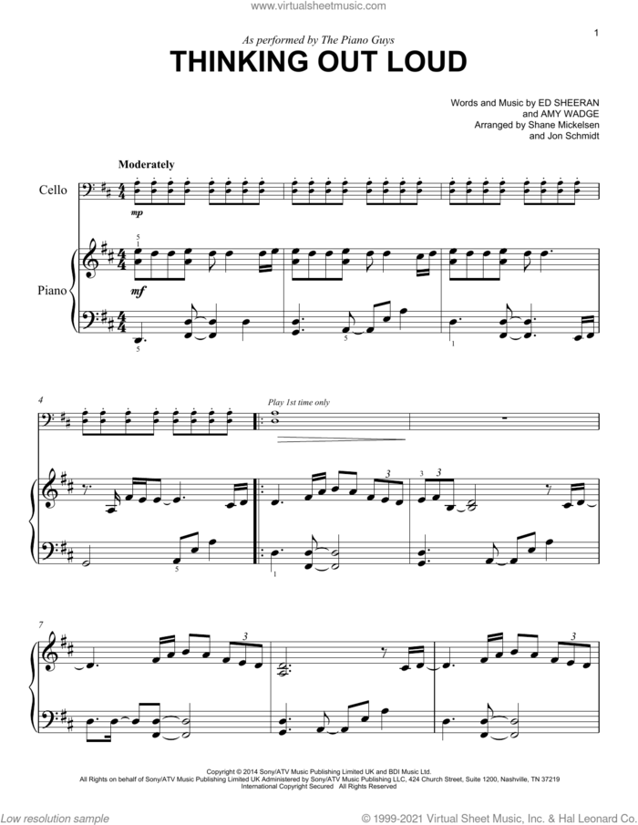 Thinking Out Loud sheet music for voice and other instruments (E-Z Play) by The Piano Guys, Amy Wadge and Ed Sheeran, wedding score, easy skill level