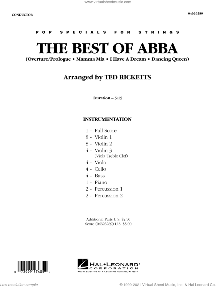 The Best of ABBA (arr. Ted Ricketts) (COMPLETE) sheet music for orchestra by ABBA and Ted Ricketts, intermediate skill level