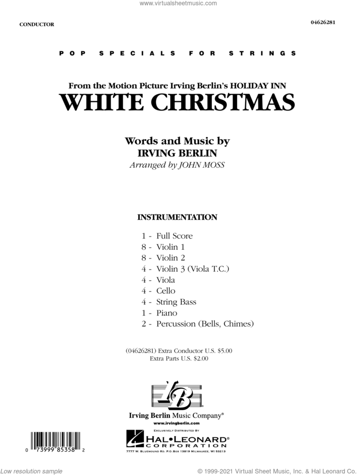 White Christmas (from Holiday Inn) (arr. John Moss) (COMPLETE) sheet music for orchestra by Irving Berlin and John Moss, intermediate skill level