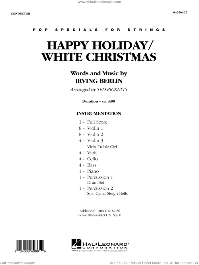 Happy Holiday/White Christmas (arr. Ted Ricketts) (COMPLETE) sheet music for orchestra by Irving Berlin and Ted Ricketts, intermediate skill level