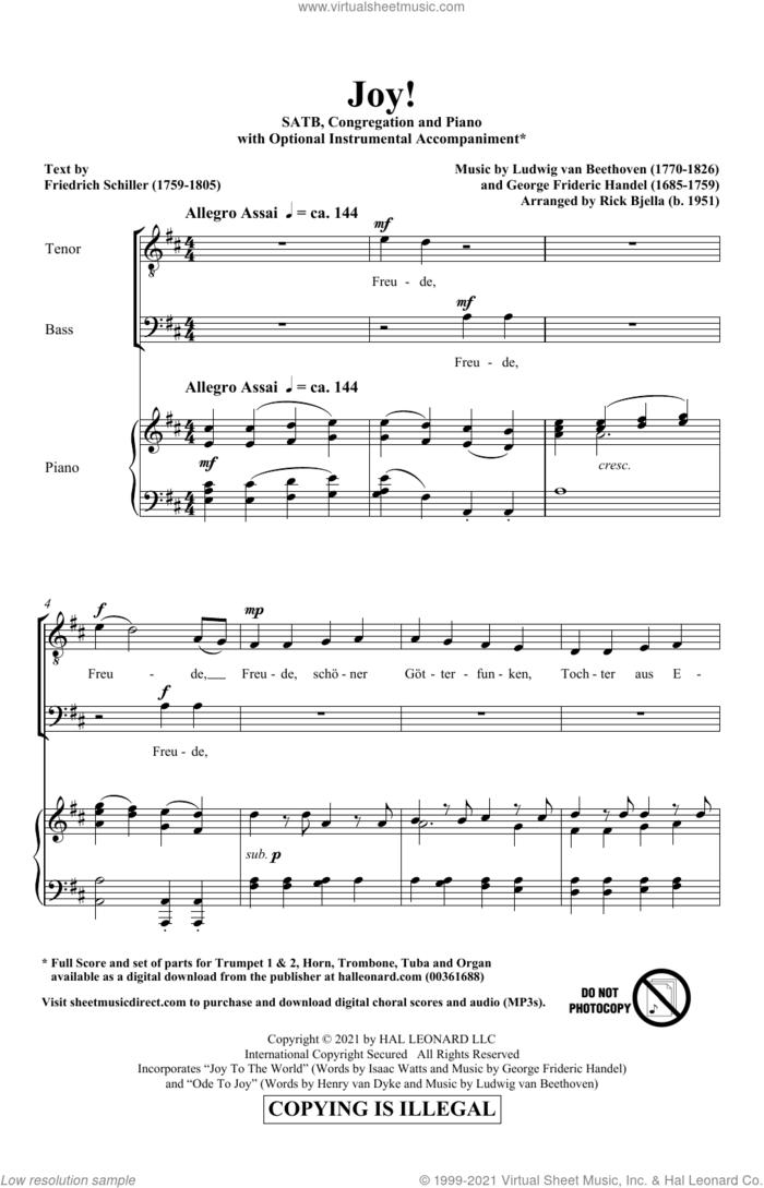 Joy! sheet music for choir (SATB: soprano, alto, tenor, bass) by Ludwig van Beethoven, Richard Bjella, George Frideric Handel, Henry van Dyke and Isaac Watts, intermediate skill level