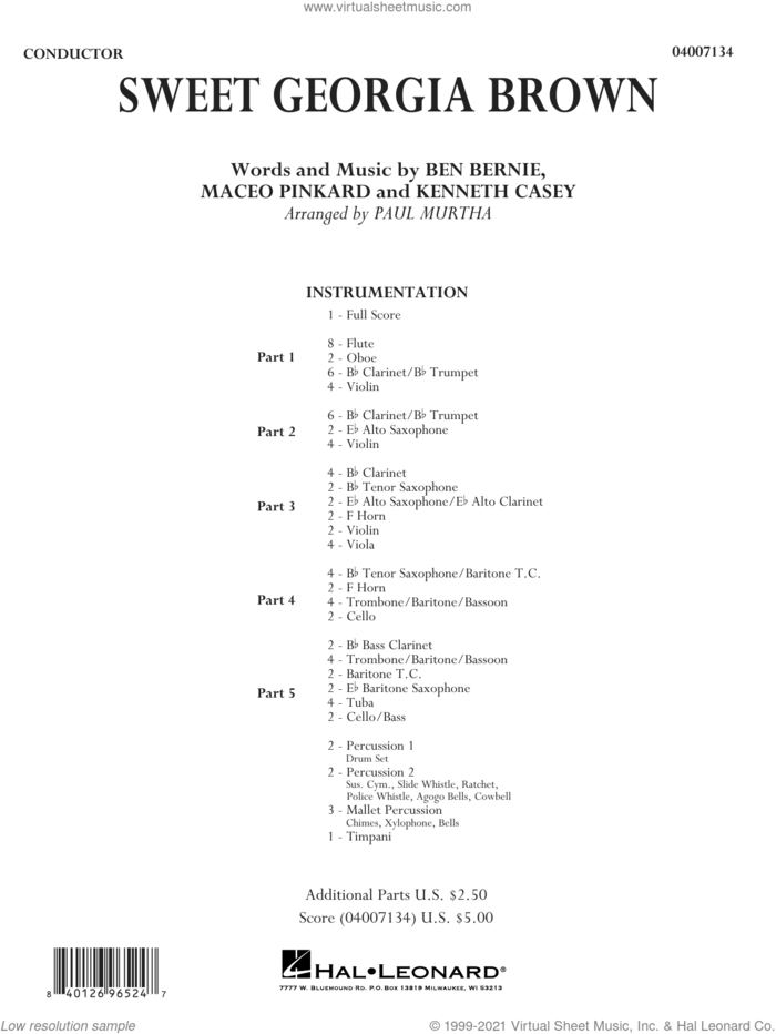 Sweet Georgia Brown (arr. Paul Murtha) (COMPLETE) sheet music for concert band by Count Basie, Ben Bernie, Kenneth Casey, Maceo Pinkard and Paul Murtha, intermediate skill level