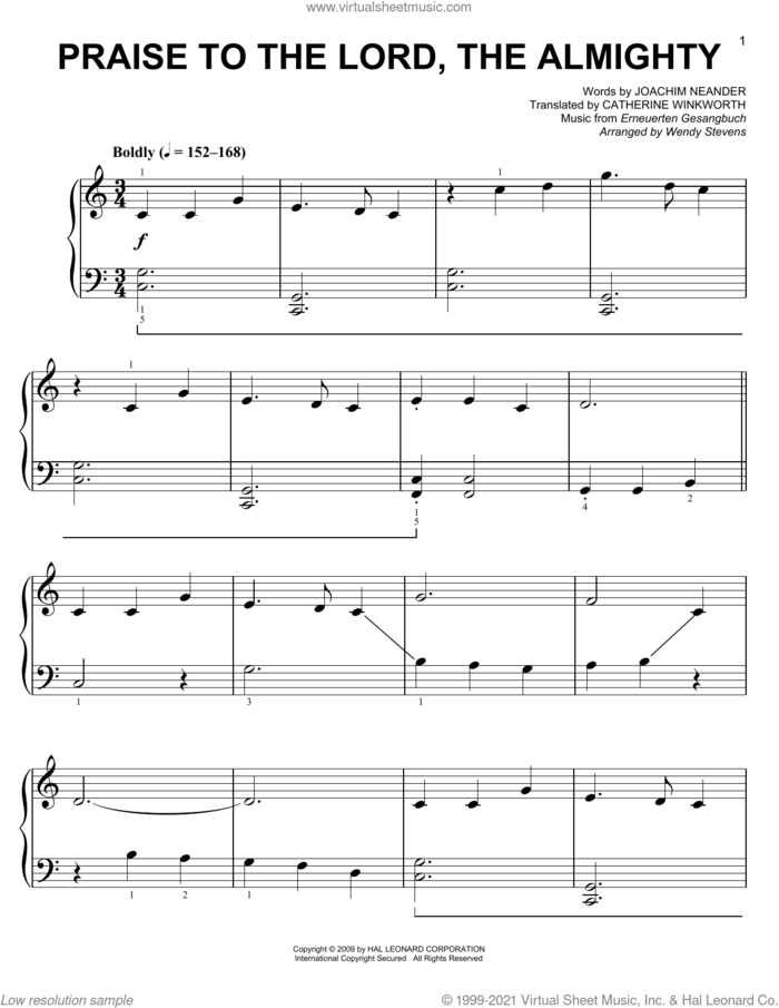 Praise To The Lord, The Almighty (arr. Wendy Stevens) sheet music for voice and other instruments (E-Z Play) by Catherine Winkworth, Wendy Stevens, Erneuerten Gesangbuch and Joachim Neander, easy skill level