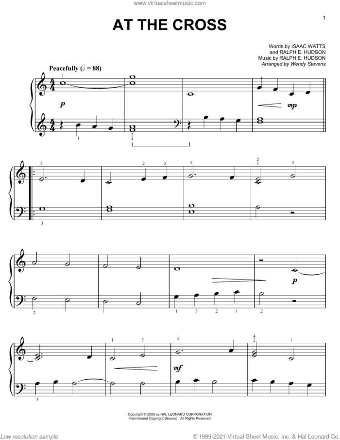 At The Cross (arr. Wendy Stevens) sheet music for voice and other instruments (E-Z Play) by Isaac Watts, Wendy Stevens and Ralph Hudson, easy skill level