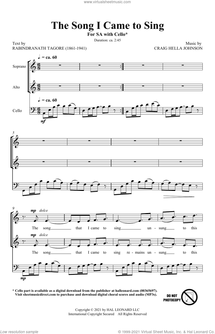 The Song I Came To Sing sheet music for choir (2-Part) by Craig Hella Johnson, intermediate duet