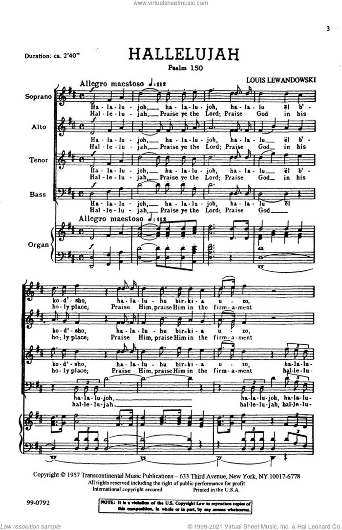 Hallelujah (Psalm 150) sheet music for choir (SATB: soprano, alto, tenor, bass) by Louis Lewandowski, classical score, intermediate skill level