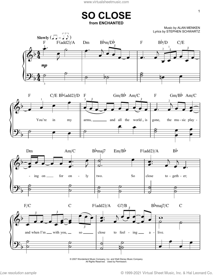 So Close (from Enchanted) sheet music for piano solo by Alan Menken and Stephen Schwartz, beginner skill level
