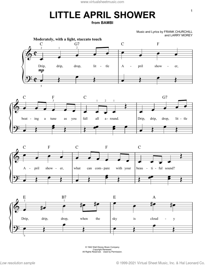 Little April Shower (from Bambi) sheet music for piano solo by Larry Morey and Frank Churchill, beginner skill level