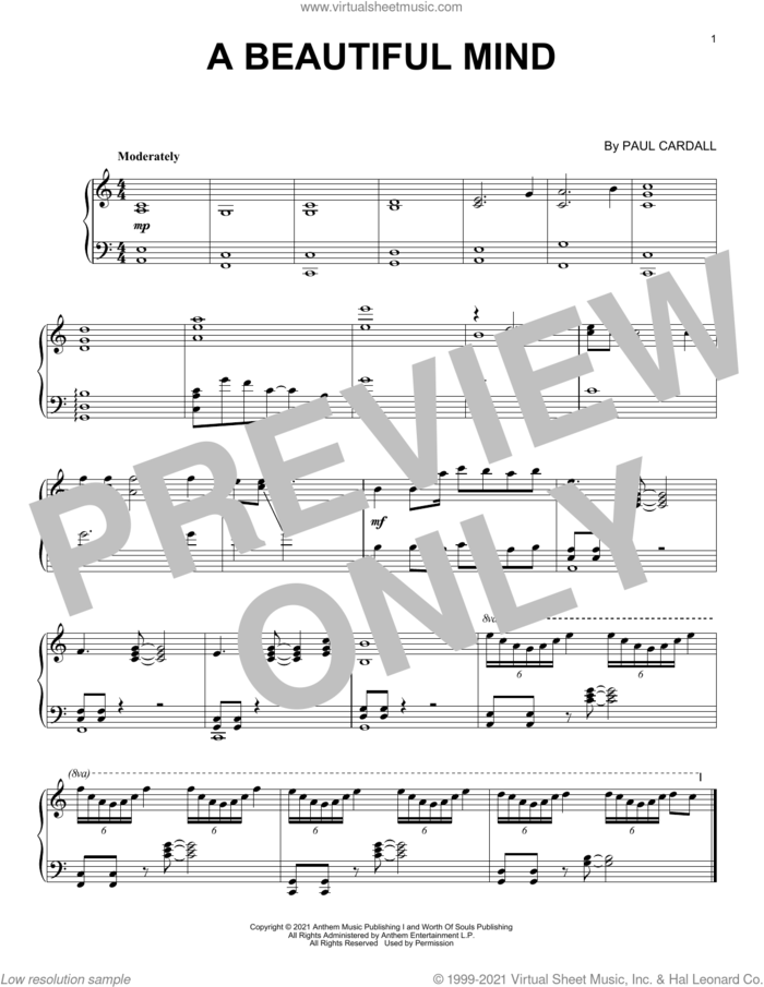 A Beautiful Mind sheet music for piano solo by Paul Cardall, intermediate skill level