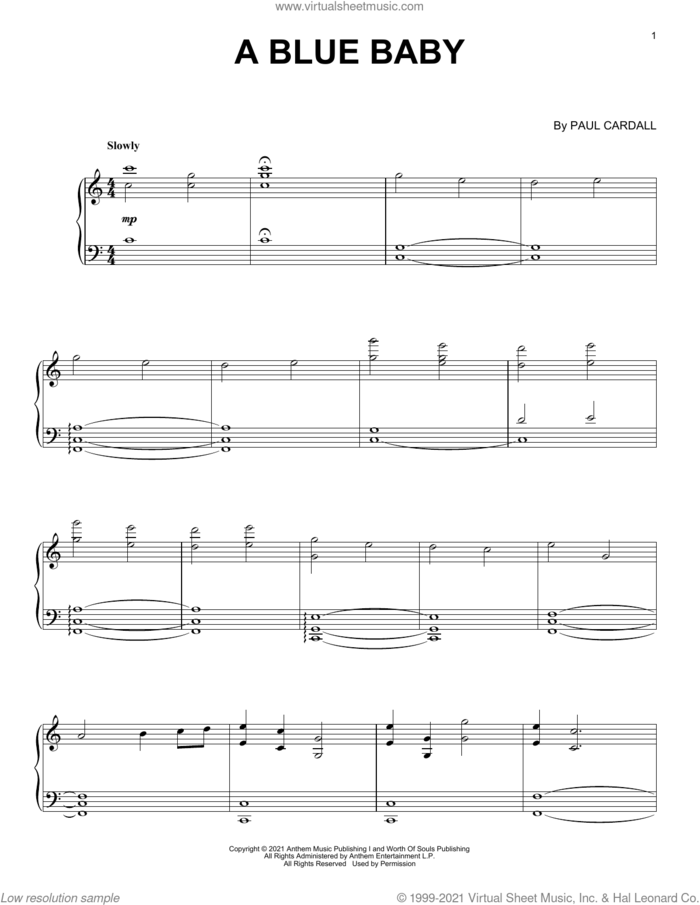 A Blue Baby sheet music for piano solo by Paul Cardall, intermediate skill level