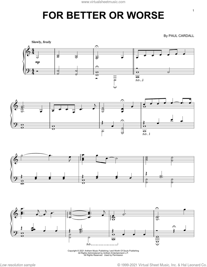 For Better Or Worse sheet music for piano solo by Paul Cardall, intermediate skill level