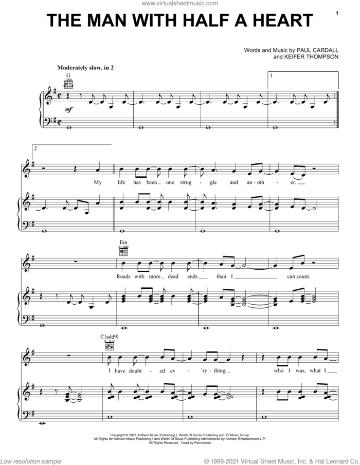The Man With Half A Heart sheet music for voice, piano or guitar by Paul Cardall and Thompson Square, Keifer Thompson and Paul Cardall, intermediate skill level
