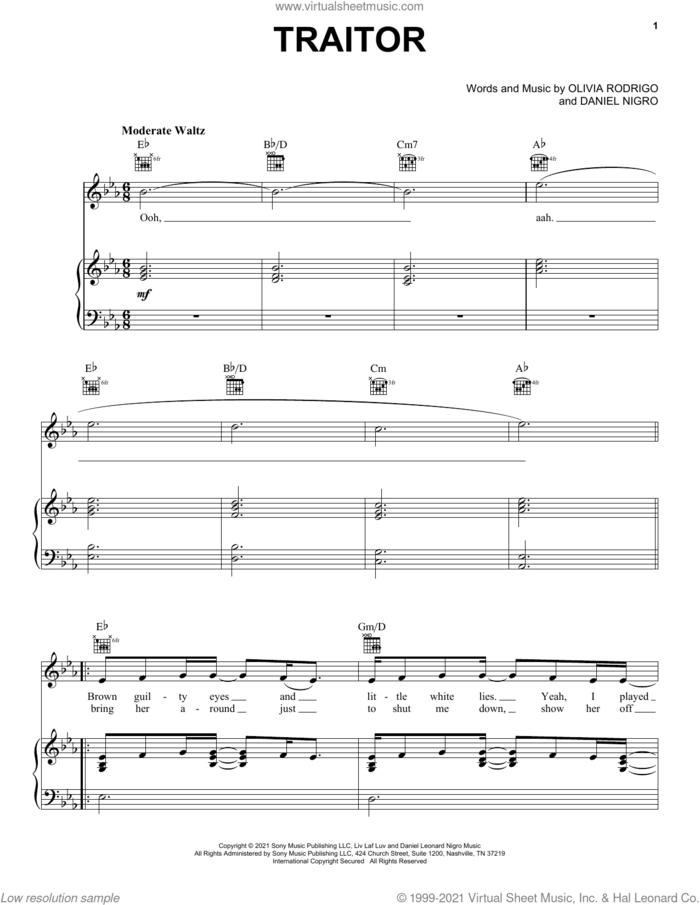traitor sheet music for voice, piano or guitar by Olivia Rodrigo and Daniel Nigro, intermediate skill level