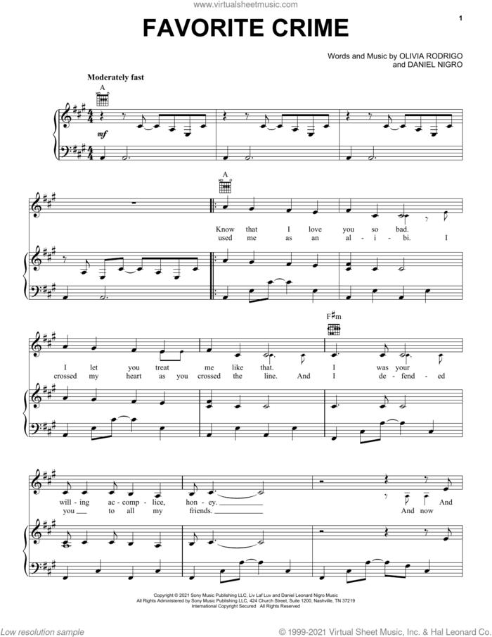 favorite crime sheet music for voice, piano or guitar by Olivia Rodrigo and Daniel Nigro, intermediate skill level