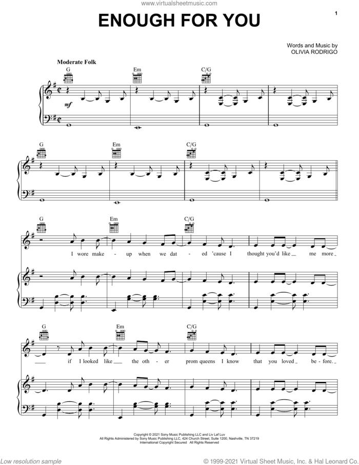 enough for you sheet music for voice, piano or guitar by Olivia Rodrigo, intermediate skill level