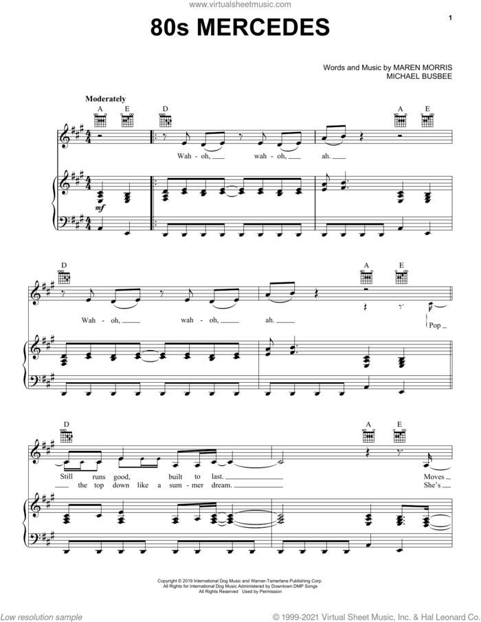 80s Mercedes sheet music for voice, piano or guitar by Maren Morris and Michael Busbee, intermediate skill level