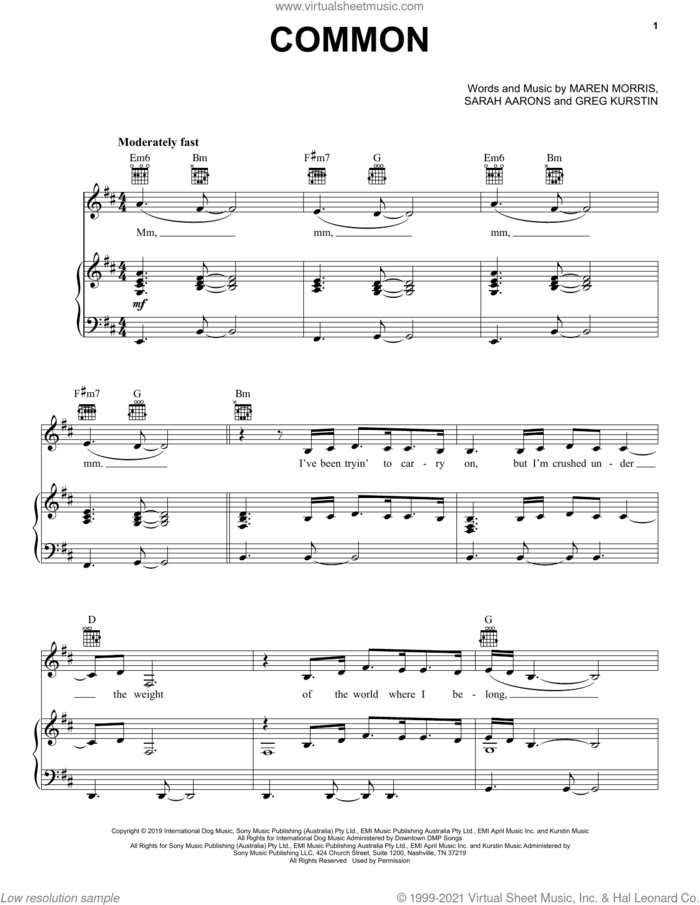 Common (feat. Brandi Carlile) sheet music for voice, piano or guitar by Maren Morris, Greg Kurstin and Sarah Aarons, intermediate skill level