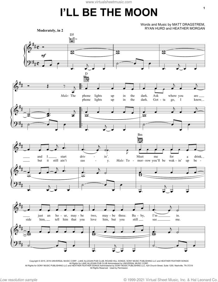 I'll Be The Moon sheet music for voice, piano or guitar by Dierks Bentley & Maren Morris, Heather Morgan, Matt Dragstrem and Ryan Hurd, intermediate skill level