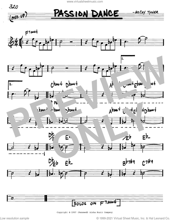 Passion Dance sheet music for voice and other instruments (in C) by McCoy Tyner, intermediate skill level