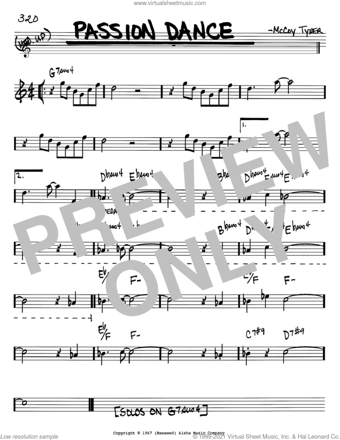 Passion Dance sheet music for voice and other instruments (in Bb) by McCoy Tyner, intermediate skill level