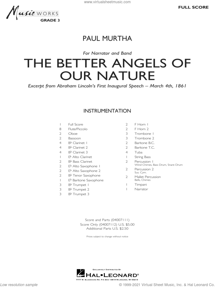 The Better Angels of Our Nature (COMPLETE) sheet music for concert band by Paul Murtha, intermediate skill level