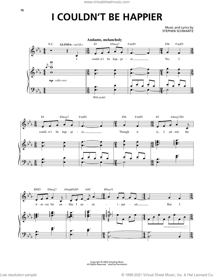 I Couldn't Be Happier (from Wicked) sheet music for voice and piano by Stephen Schwartz, intermediate skill level