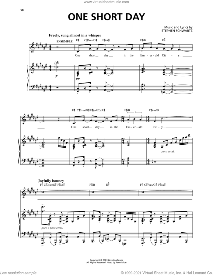 One Short Day (from Wicked) sheet music for voice and piano by Stephen Schwartz, intermediate skill level