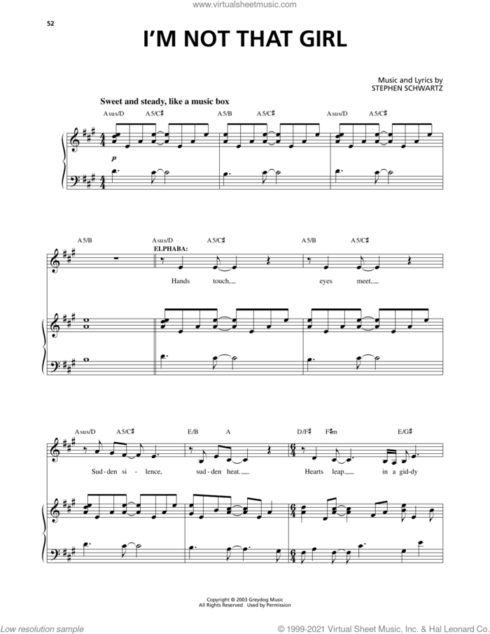 I'm Not That Girl (from Wicked) sheet music for voice and piano by Stephen Schwartz and Richard Walters, intermediate skill level