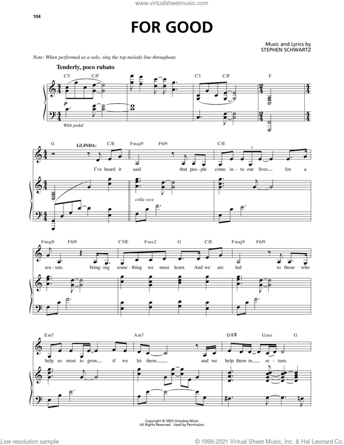 For Good (from Wicked) sheet music for voice and piano by Stephen Schwartz, intermediate skill level