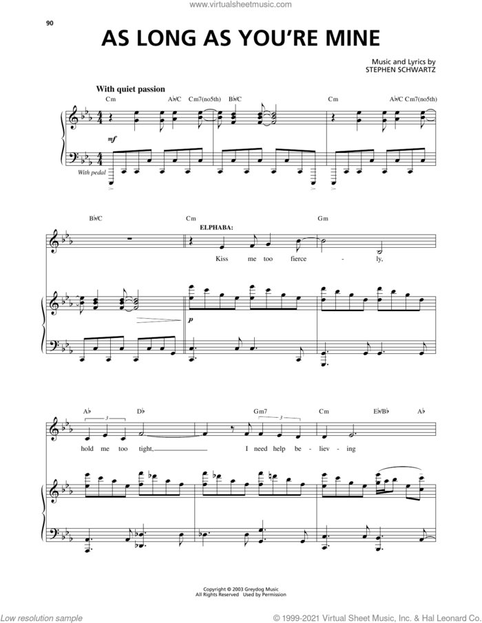 As Long As You're Mine (from Wicked) sheet music for voice and piano by Stephen Schwartz, intermediate skill level