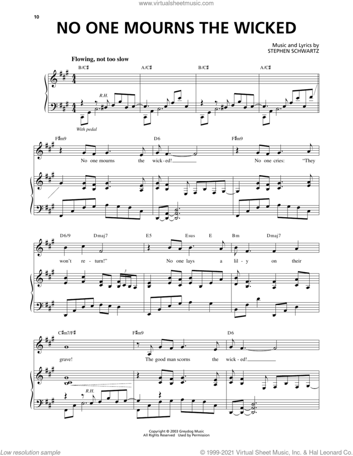 No One Mourns The Wicked (from Wicked) sheet music for voice and piano by Stephen Schwartz, intermediate skill level