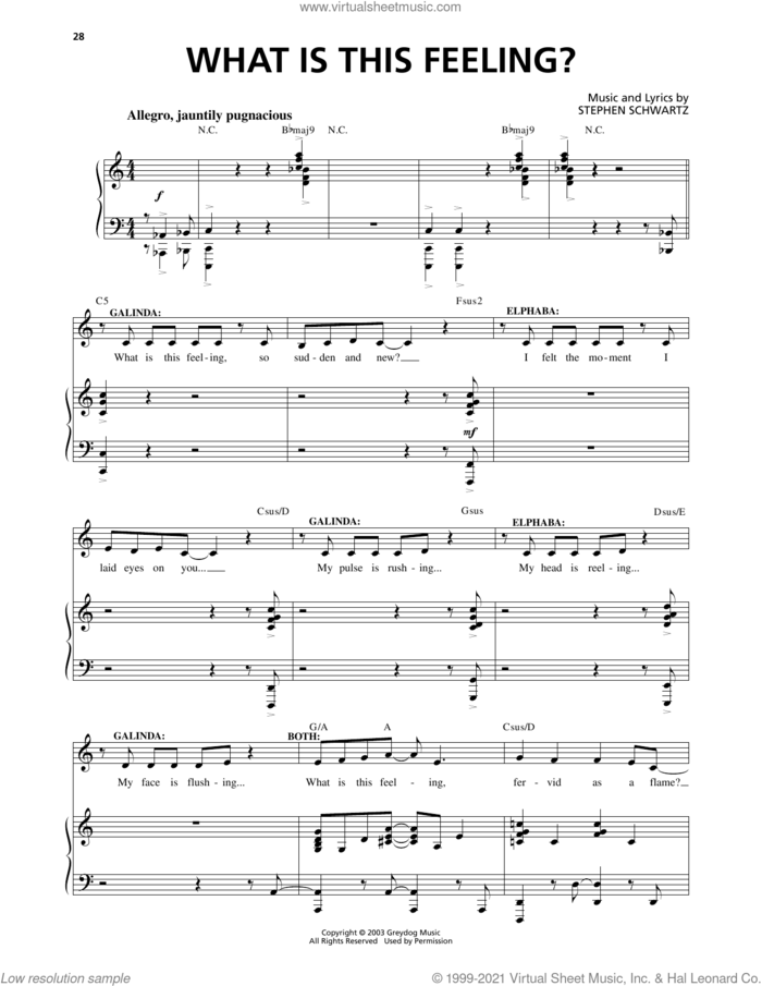 What Is This Feeling? (from Wicked) sheet music for voice and piano by Stephen Schwartz and Richard Walters, intermediate skill level
