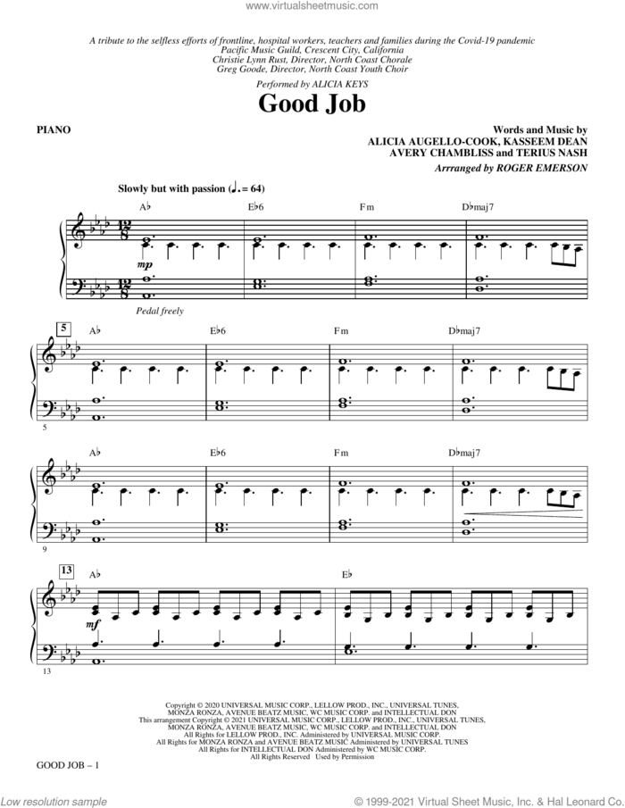 Good Job (arr. Roger Emerson) (complete set of parts) sheet music for orchestra/band by Roger Emerson, Alicia Augello-Cook, Alicia Keys, Avery Chambliss, Kasseem Dean and Terius Nash, intermediate skill level