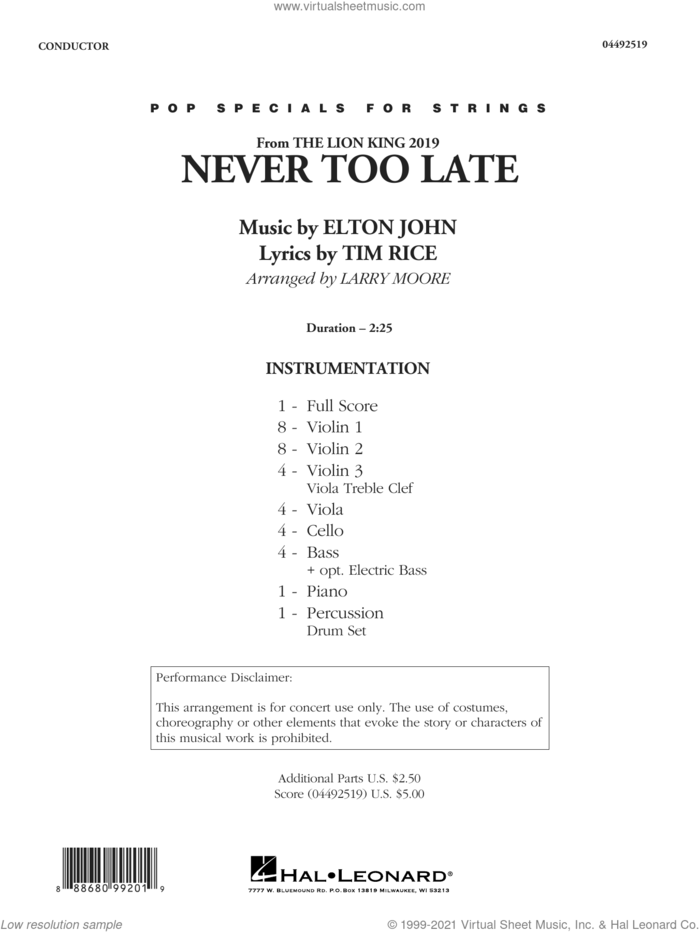 Never Too Late (from The Lion King 2019) (arr. Larry Moore) (COMPLETE) sheet music for orchestra by Elton John, Larry Moore and Tim Rice, intermediate skill level