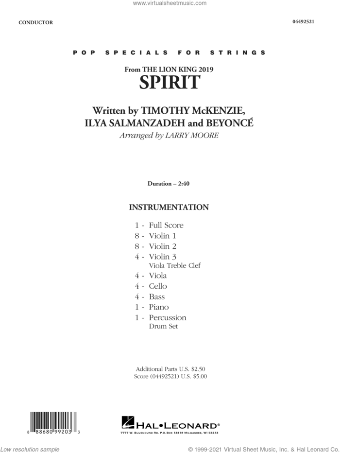 Spirit (from The Lion King 2019) (arr. Larry Moore) (COMPLETE) sheet music for orchestra by Beyonce, Ilya Salmanzadeh, Larry Moore and Timothy McKenzie, intermediate skill level