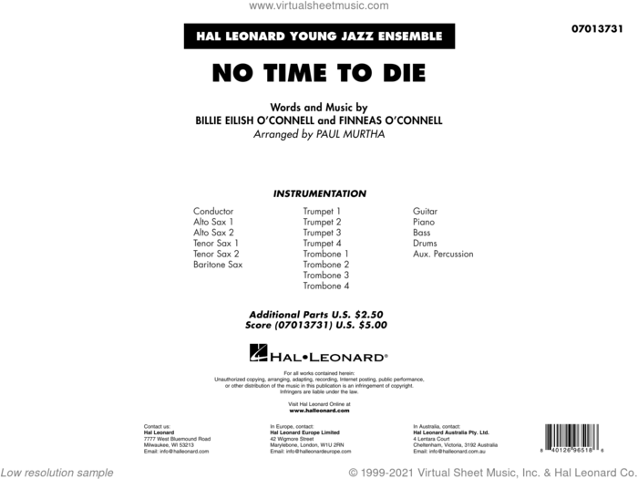 No Time to Die (from No Time To Die) (arr. Paul Murtha) (COMPLETE) sheet music for jazz band by Paul Murtha and Billie Eilish, intermediate skill level