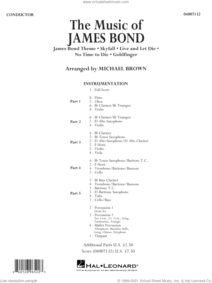 The Music of James Bond (COMPLETE) sheet music for concert band by Michael Brown and Miscellaneous, intermediate skill level
