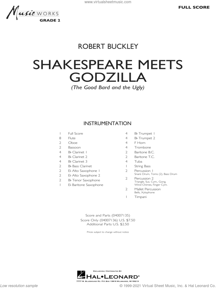 Shakespeare Meets Godzilla (The Good Bard and the Ugly) (COMPLETE) sheet music for concert band by Robert Buckley, intermediate skill level