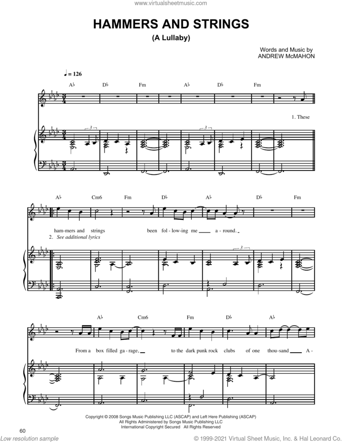 Hammers And Strings (A Lullaby) sheet music for voice, piano or guitar by Jack's Mannequin and Andrew McMahon, intermediate skill level