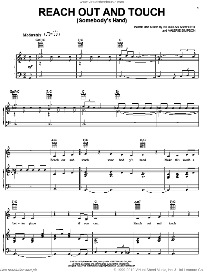 Reach Out And Touch (Somebody's Hand) sheet music for voice, piano or guitar by Diana Ross, Ashford & Simpson, Nickolas Ashford and Valerie Simpson, intermediate skill level