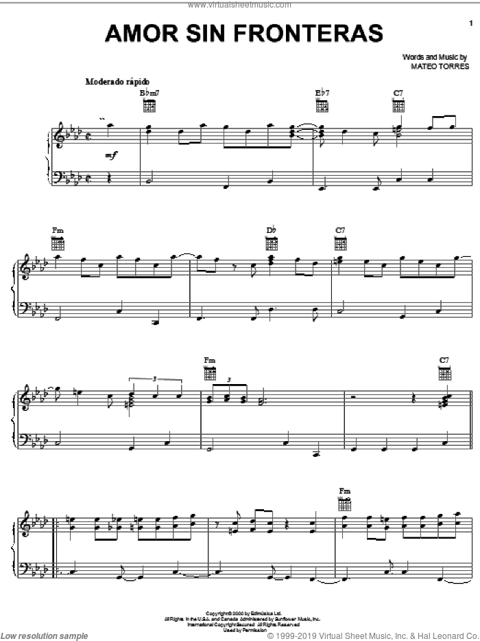 Amor Sin Fronteras sheet music for voice, piano or guitar by Mateo Torres, intermediate skill level