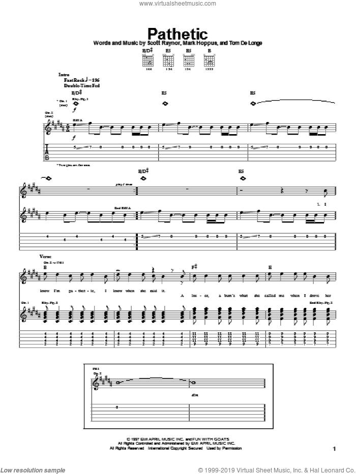 Pathetic sheet music for guitar (tablature) by Blink-182, Mark Hoppus, Scott Raynor and Tom DeLonge, intermediate skill level