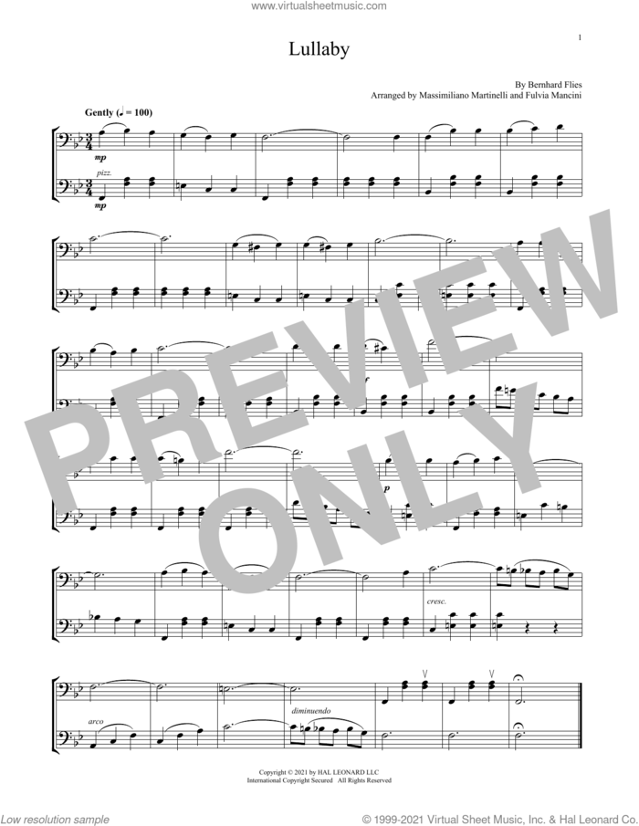 Lullaby sheet music for two cellos (duet, duets) by Mr. & Mrs. Cello, Fulvia Mancini, Massimiliano Martinelli and Bernhard Flies, classical score, intermediate skill level