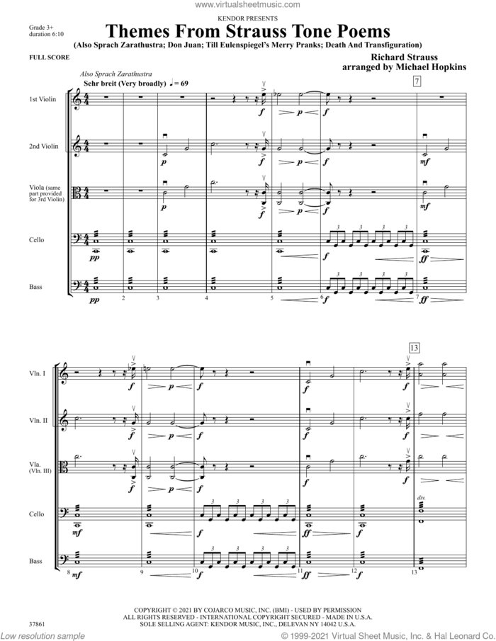 Themes From Strauss Tone Poems (COMPLETE) sheet music for orchestra by Michael Hopkins and Richard Strauss, classical score, intermediate skill level
